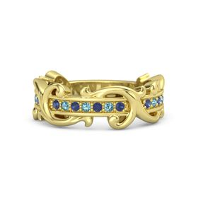 14K Yellow Gold Ring with Blue Sapphire and London Blue Topaz