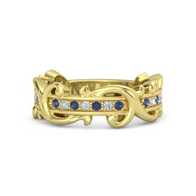 14K Yellow Gold Ring with Blue Sapphire and Diamond