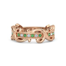 18K Rose Gold Ring with Emerald and Diamond