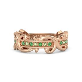 18K Rose Gold Ring with Emerald and Peridot