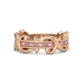 18K Rose Gold Ring with Pink Sapphire and Rhodolite Garnet