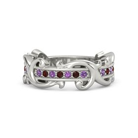 18K White Gold Ring with Amethyst and Red Garnet