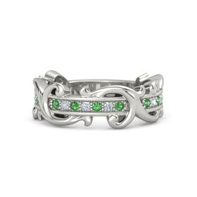 18K White Gold Ring with Emerald and Diamond
