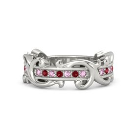18K White Gold Ring with Pink Sapphire and Ruby