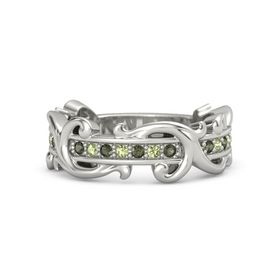 18K White Gold Ring with Green Tourmaline and Peridot