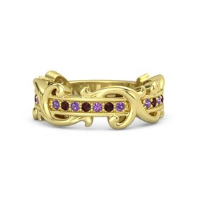 18K Yellow Gold Ring with Amethyst and Red Garnet