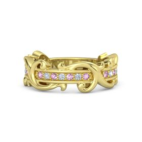 18K Yellow Gold Ring with Pink Sapphire and Diamond