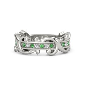 Palladium Ring with Emerald and White Sapphire
