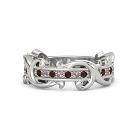 Palladium Ring with Red Garnet and Rhodolite Garnet