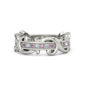 Palladium Ring with Rhodolite Garnet and Diamond