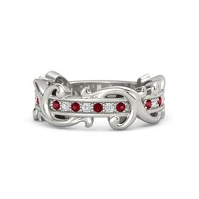 Palladium Ring with Ruby and White Sapphire