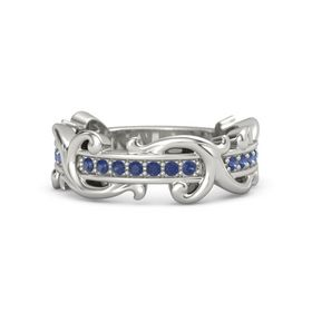 Palladium Ring with Blue Sapphire