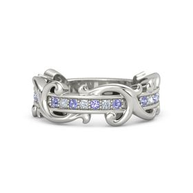 Palladium Ring with Iolite and Diamond