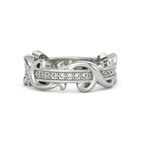 Palladium Ring with Pink Tourmaline and White Sapphire