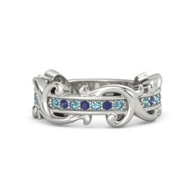 Platinum Ring with London Blue Topaz and Blue Sapphire