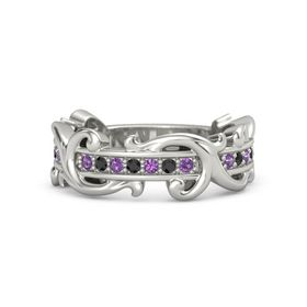 Platinum Ring with Amethyst and Black Diamond