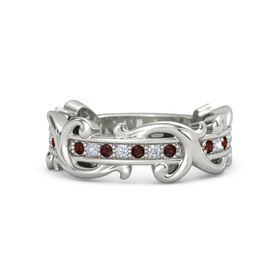 Platinum Ring with Red Garnet and Diamond