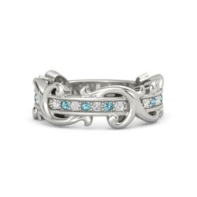 Platinum Ring with White Sapphire and London Blue Topaz