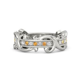 Platinum Ring with White Sapphire and Citrine