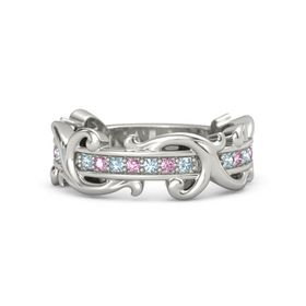 Platinum Ring with Aquamarine and Pink Sapphire