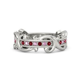 Platinum Ring with Ruby and Pink Sapphire