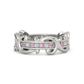 Platinum Ring with Pink Tourmaline and White Sapphire