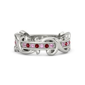 Platinum Ring with Pink Tourmaline and Ruby