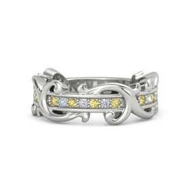 Platinum Ring with Yellow Sapphire and Diamond