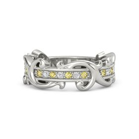 Platinum Ring with Yellow Sapphire and White Sapphire