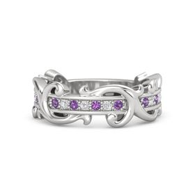 Sterling Silver Ring with Amethyst and White Sapphire