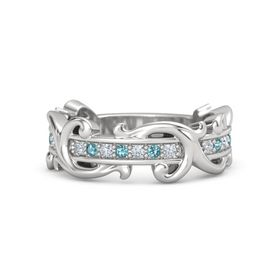 Sterling Silver Ring with Diamond and London Blue Topaz