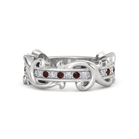 Sterling Silver Ring with Diamond and Red Garnet