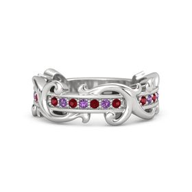 Sterling Silver Ring with Ruby and Amethyst