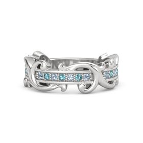 Sterling Silver Ring with Blue Topaz and London Blue Topaz