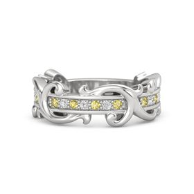 Sterling Silver Ring with Yellow Sapphire and White Sapphire