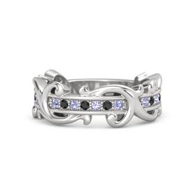 Sterling Silver Ring with Tanzanite and Black Diamond