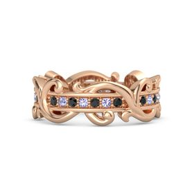 14K Rose Gold Ring with Black Diamond and Tanzanite