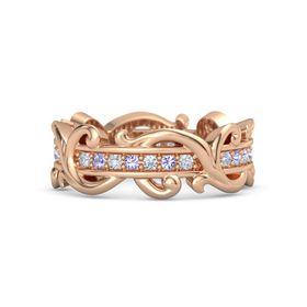 14K Rose Gold Ring with Diamond and Tanzanite