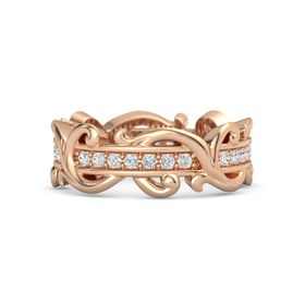 14K Rose Gold Ring with White Sapphire