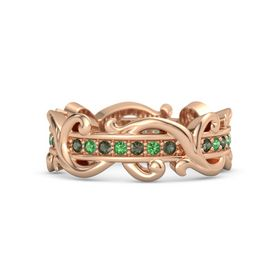 14K Rose Gold Ring with Green Tourmaline and Emerald