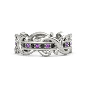 14K White Gold Ring with Black Diamond and Amethyst