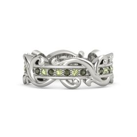 14K White Gold Ring with Green Tourmaline and Peridot