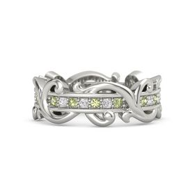 14K White Gold Ring with Peridot and White Sapphire