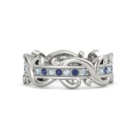 14K White Gold Ring with Aquamarine and Blue Sapphire