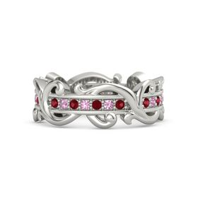 14K White Gold Ring with Ruby and Pink Tourmaline