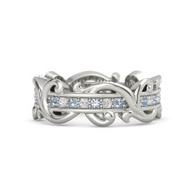 14K White Gold Ring with Blue Topaz and White Sapphire