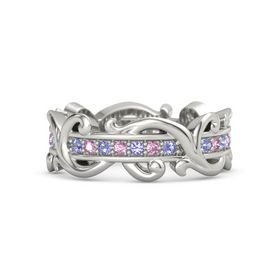 14K White Gold Ring with Iolite and Pink Sapphire