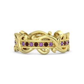 14K Yellow Gold Ring with Amethyst and Red Garnet