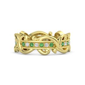 14K Yellow Gold Ring with Emerald and White Sapphire
