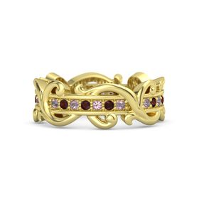 14K Yellow Gold Ring with Rhodolite Garnet and Red Garnet